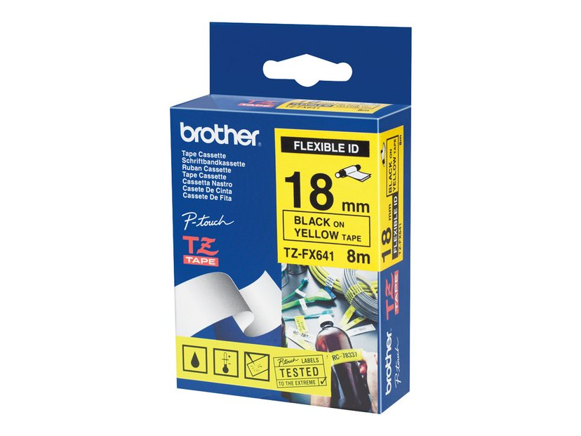 Brother Tape 18mm TZe-FX641 Svart/Gul