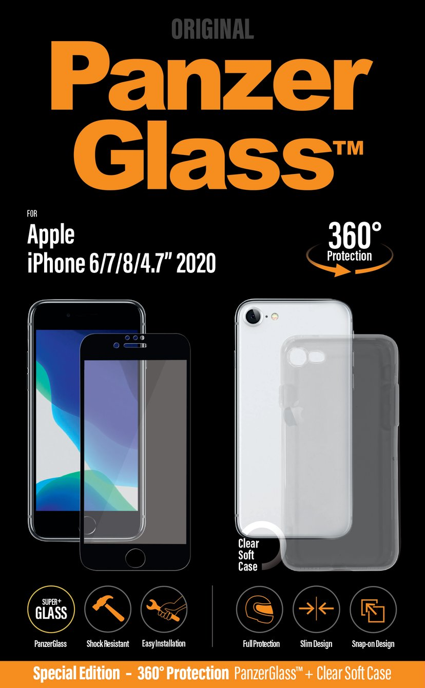 Panzerglass Case Friendly With Case 360-protection iPhone 6/6s, iPhone 7, iPhone 8, iPhone SE (2020) CrystalClear