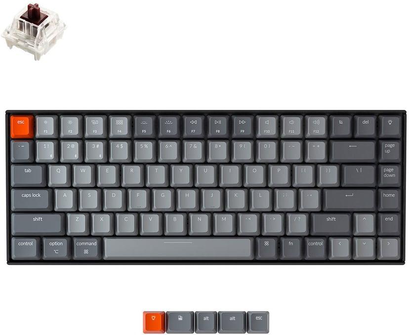Keychron K2 RGB Aluminium Brown (Version 2) Kabling, Trådløs Tastatur Nordisk Nordisk Grå, Sort