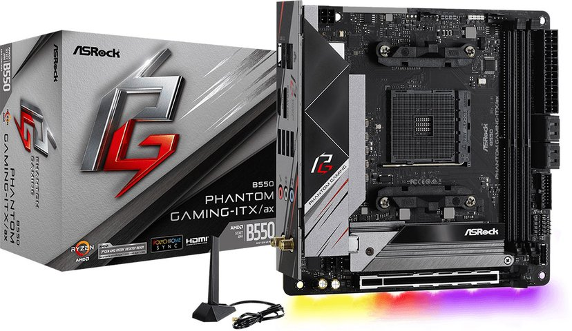 ASRock B550 Phantom Gaming-ITX/Ax Mini ITX Bundkort