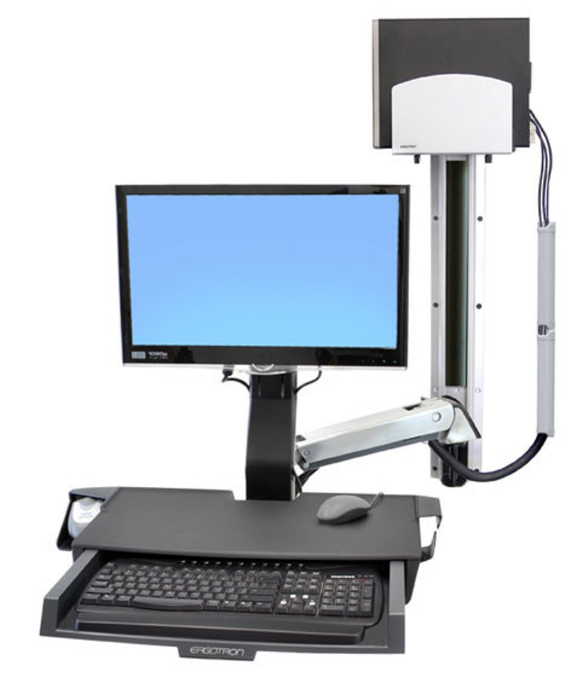 Ergotron StyleView Sit-Stand Combo System with Worksurface and Medium Silver CPU Holder