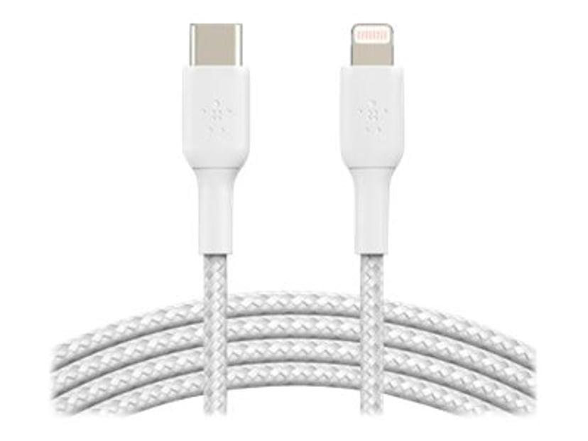 Belkin Lightning Till USB-C Kabel Flätad Vit 1m