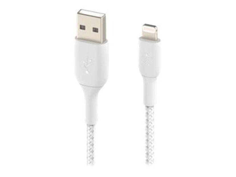 Belkin Lightning Till USB-A Kabel Flätad Vit 0.15m
