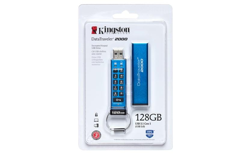 Kingston Datatraveler 2000 128GB USB 3.0 128GB USB 3.1 Gen 1 256-bit AES-XTS, FIPS 140-2 Level 3