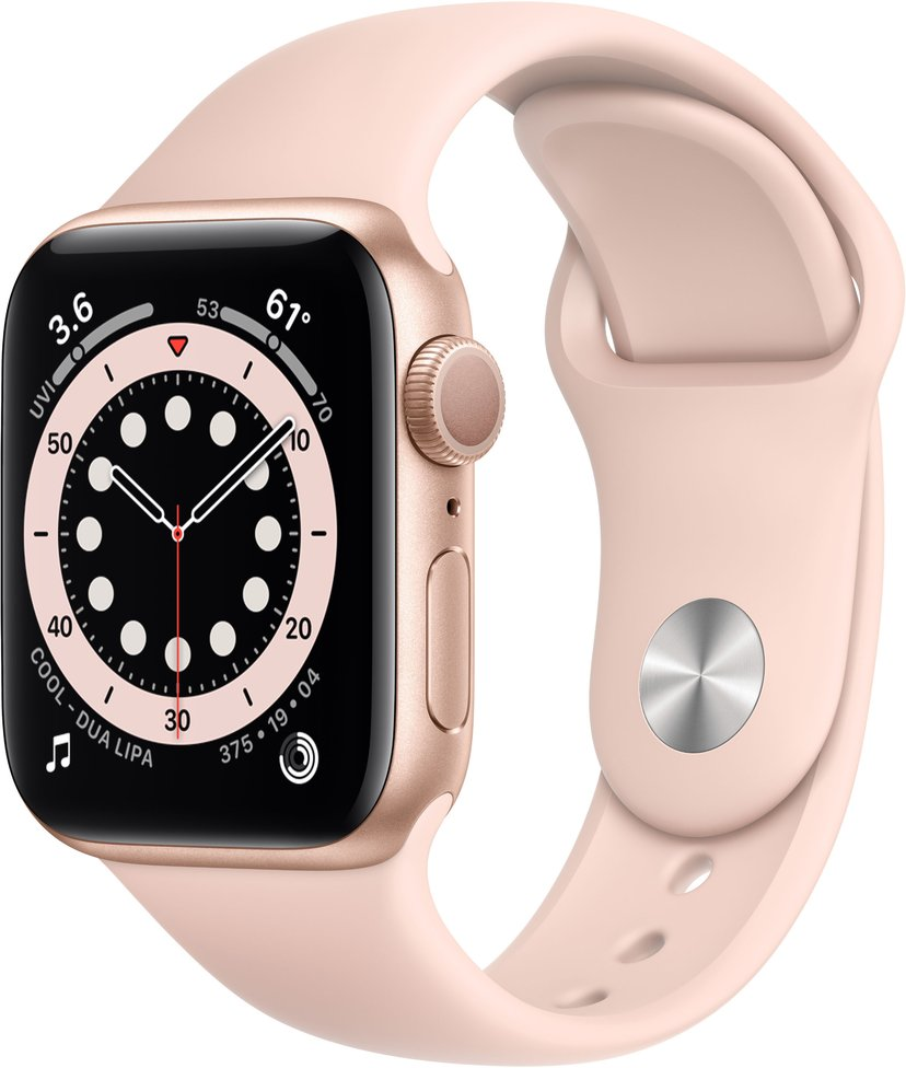 Apple Watch Series 6 GPS, 40mm Gold Aluminium Case with Pink Sand Sport Band