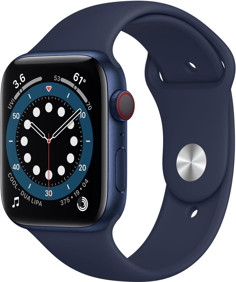 Apple Watch Series 6 GPS + Cellular, 44mm Blue Aluminium Case with Deep Navy Sport Band - Regular