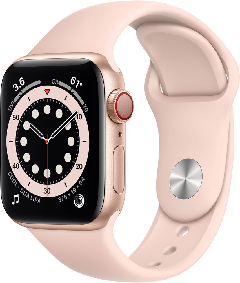Apple Watch Series 6 GPS + Cellular, 40mm Gold Aluminium Case with Pink Sand Sport Band
