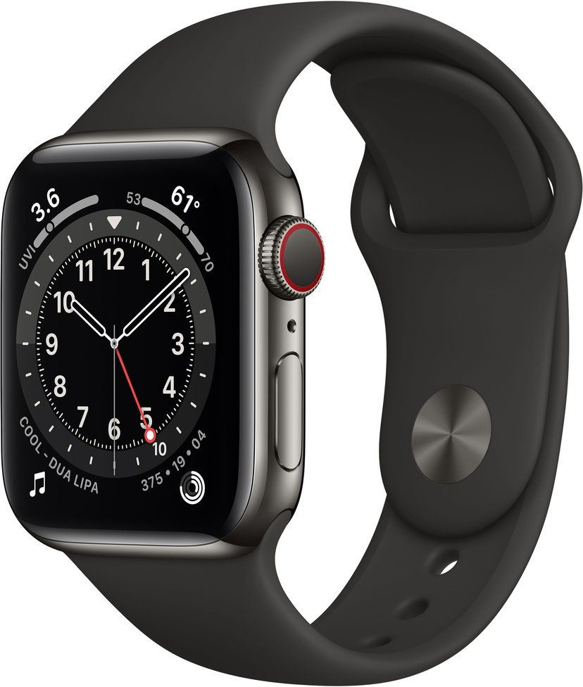 Apple Watch Series 6 GPS + Cellular, 40mm Graphite Stainless Steel Case with Black Sport Band