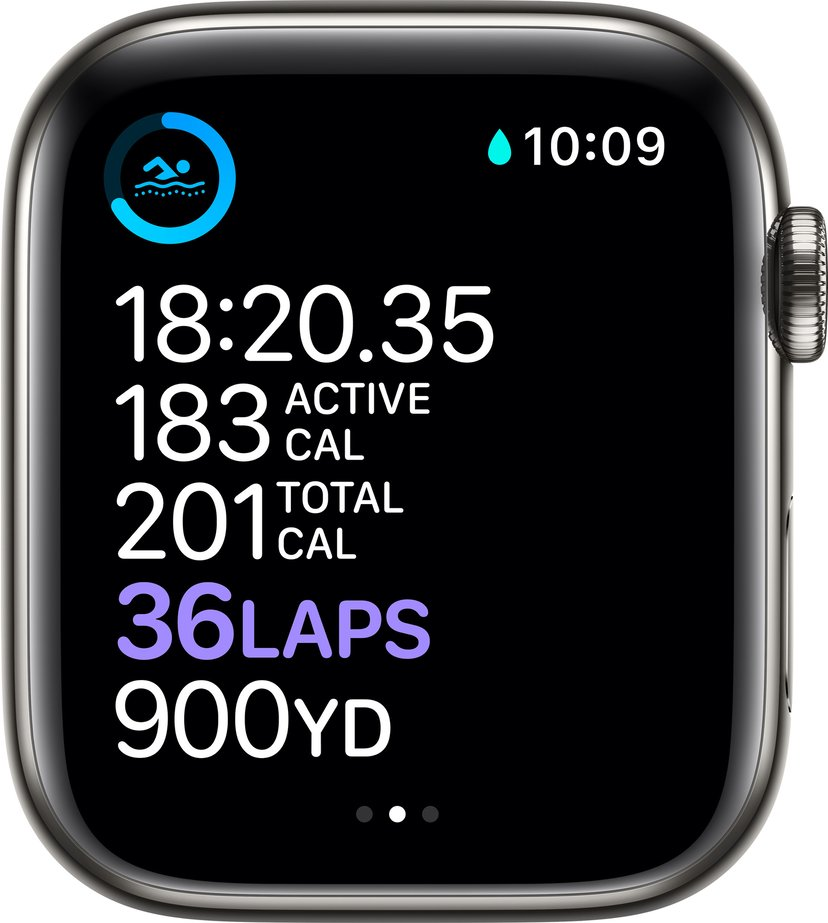 Apple Watch Series 6 GPS + Cellular, 44mm Graphite Stainless Steel Case with Black Sport Band