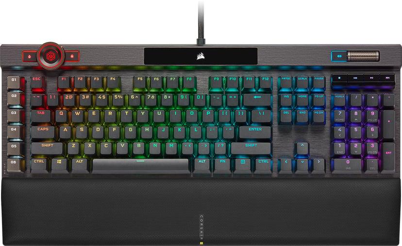 Corsair K100 RGB Optical-Mechanical Keyboard Kabling Tastatur Nordisk Sort