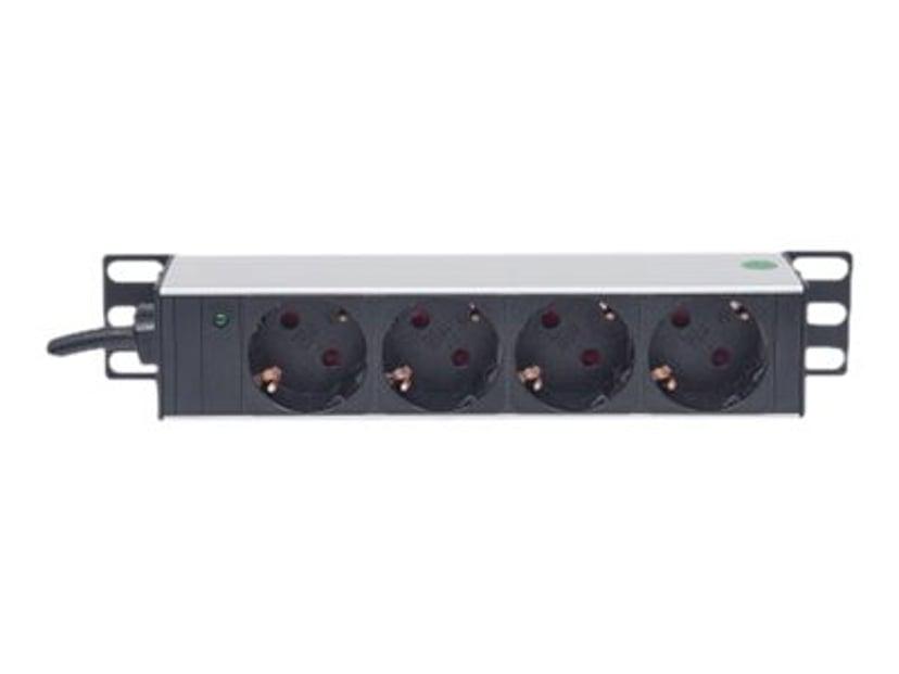 "Intellinet 10"" 1U Rackmount 4-Way Power Strip 4kpl Power CEE 7/3"