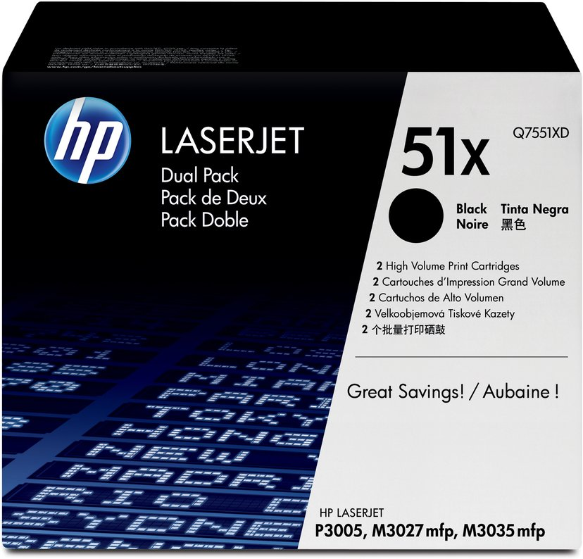 HP Toner Zwart 13K - Q7551XD 2-Pack