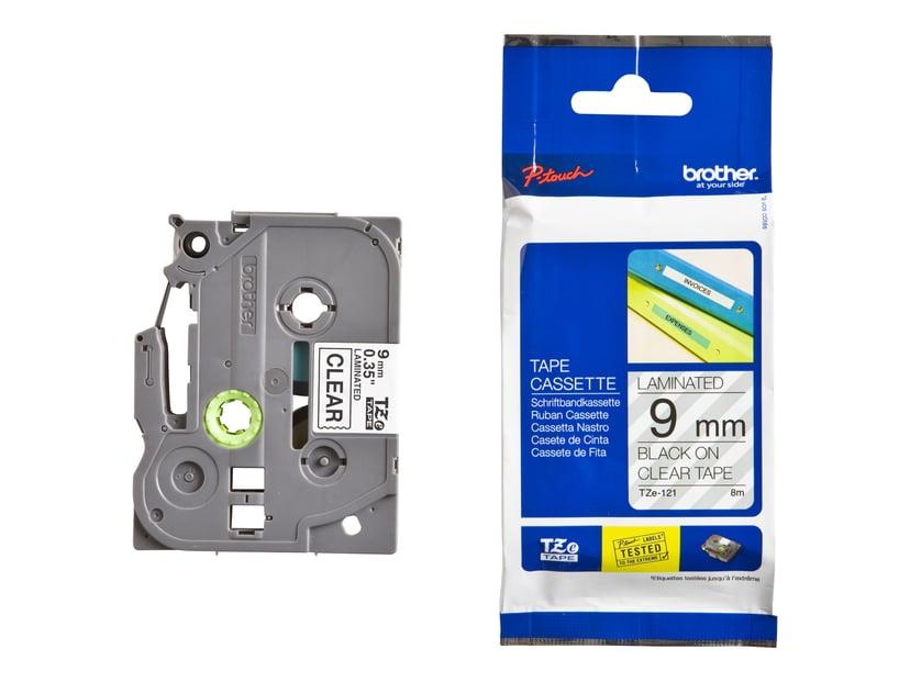Brother Tape TZE-121 9mm Sort/Transparent