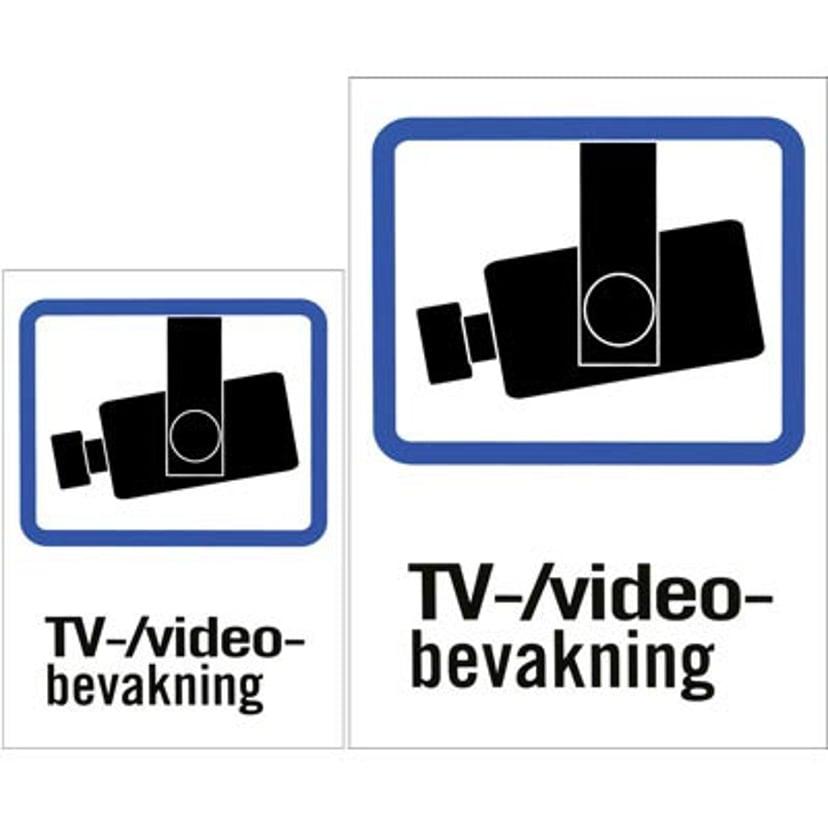 Deltaco Plastskylt TV/Video-övervakning A4 & A5-storlek