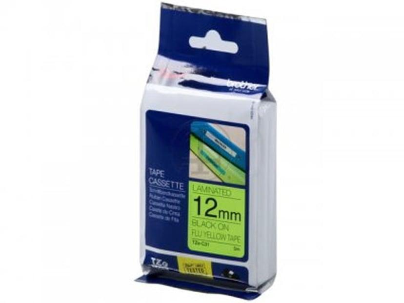 Brother Tape TZE-C31 12mm Sort/NeonGul