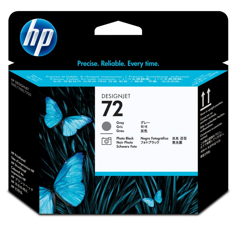 HP Skriverhode NO.72 GREY & PHOTO Svart