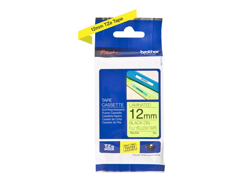 Brother Tape TZe-C31 12mm Svart/NeonGul