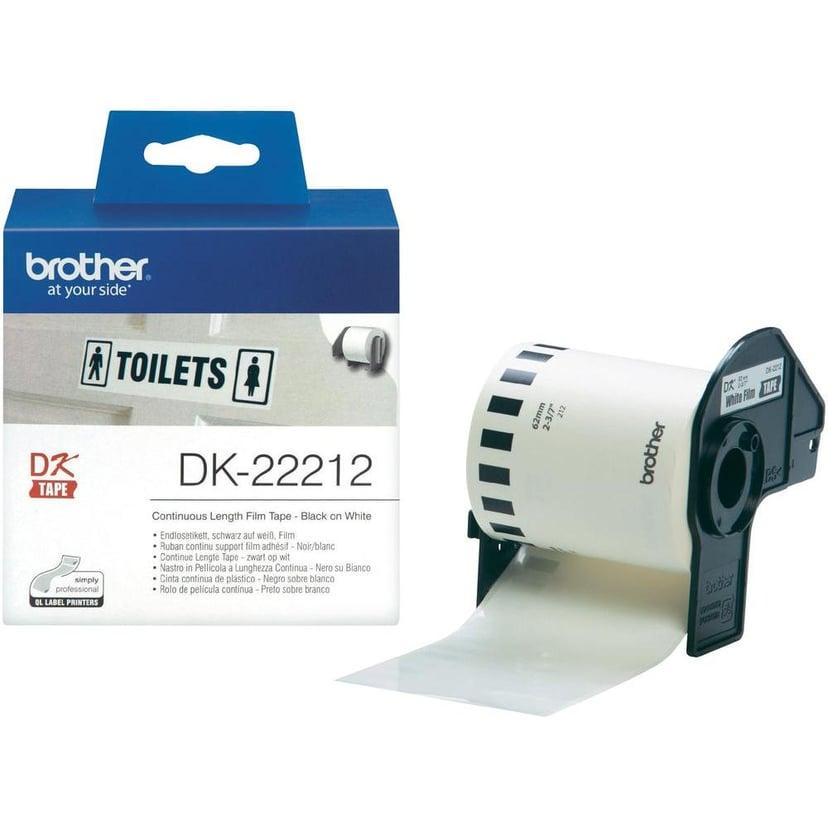 Brother Tape Width Plastic Sort/Hvid 62mm X 15,24m