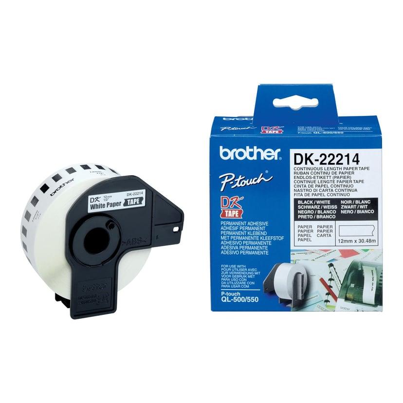 Brother Tape Papper 12mm X 30,48m Vit