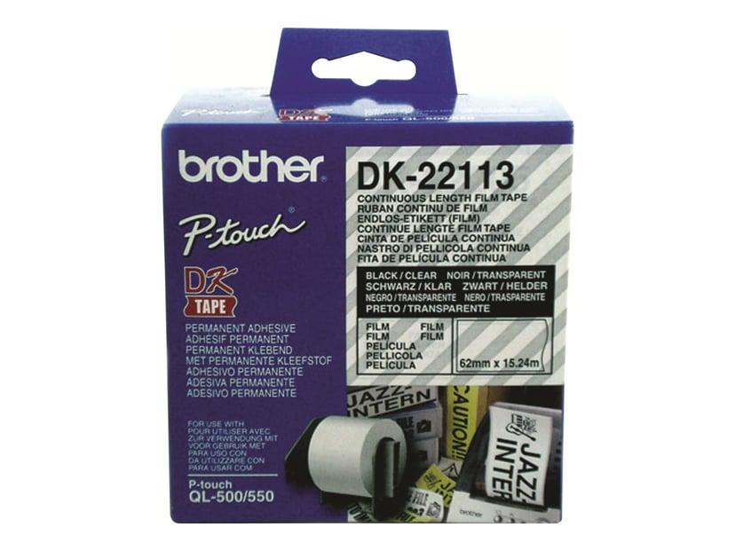 Brother Tape Plastic 62mm X 15,24m Sort/Transparent