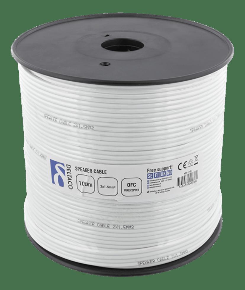 Deltaco Speaker Cable 2X1.5 100m White 100m