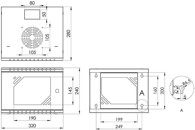 "Direktronik Väggrack 10"" 4U Glasdörr"