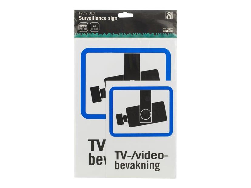 Deltaco Plastskilt TV/Videoovervågning A4 + A5