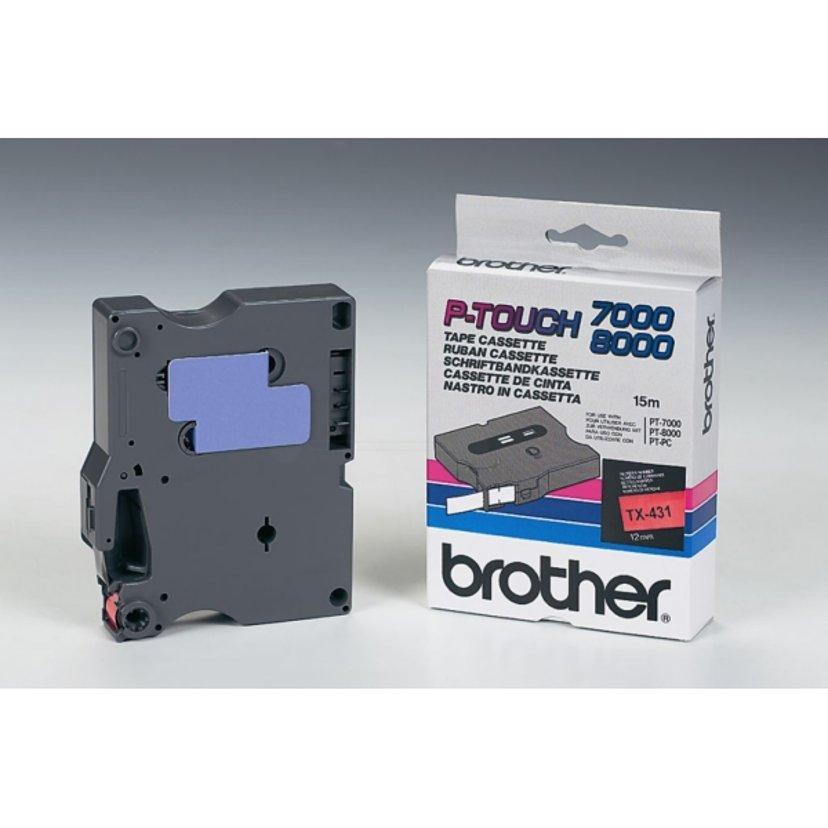 Brother Tape TX-431 12mm Black/Red
