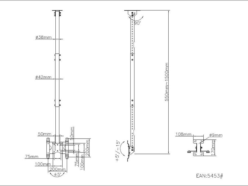 Multibrackets m Public Ceilingmount Small Single
