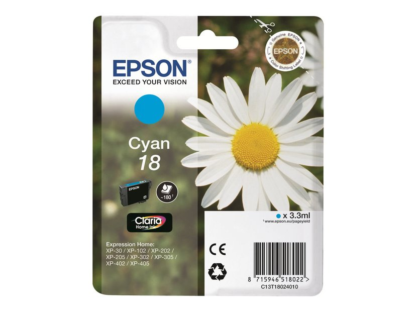 Epson Blæk Cyan T1802 - XP-302