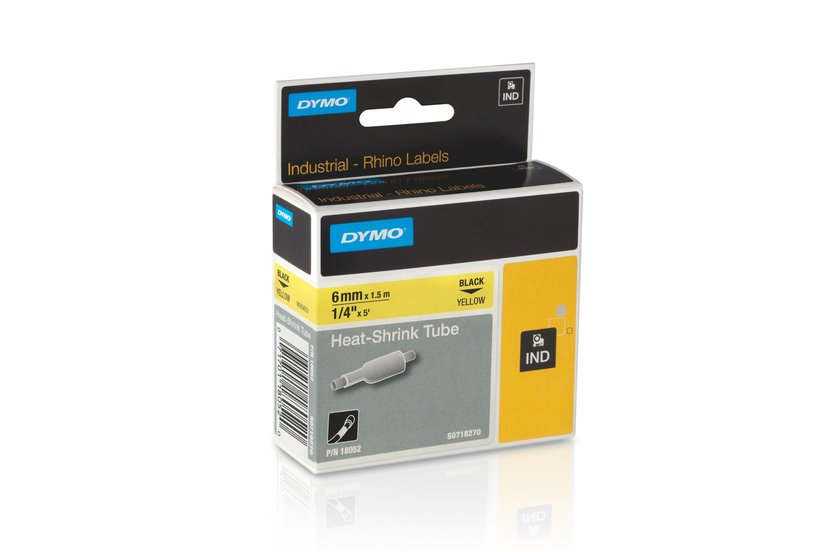 Dymo Tape RhinoPRO Krympslang 6mm Svart/Gul
