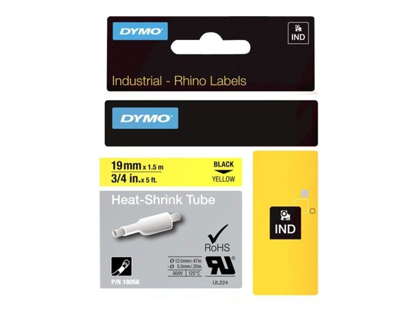 Dymo Tape RhinoPRO Krympslang 19mm Svart/Gul