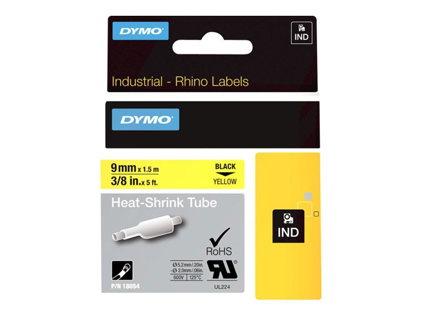 Dymo Tape RhinoPRO Heat Shrink 9mm Sort/Gul