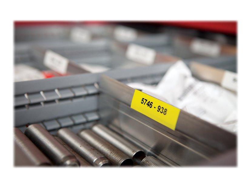 Dymo Tape RhinoPRO Perm Vinyl 12mm Svart/Gul