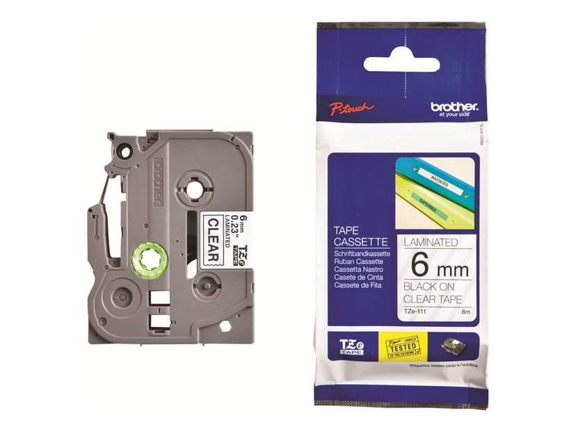 Brother Tape TZe-111 6mm Svart/Transparent