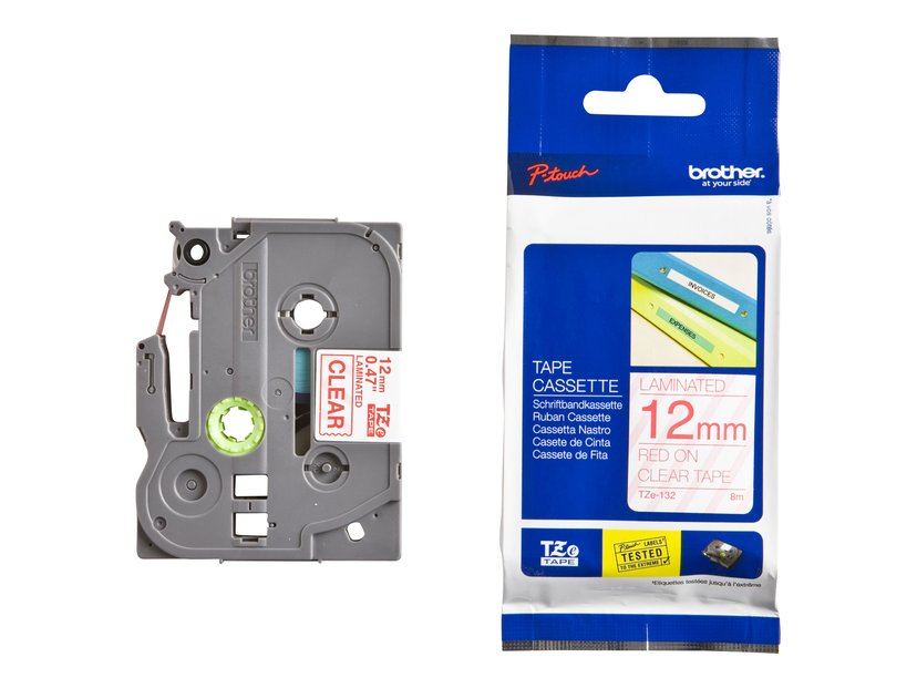 Brother Tape TZE-132 12mm Röd/Transparent