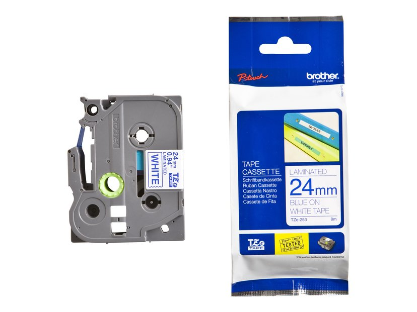 Brother Tape TZE-253 24mm Blå/Hvit