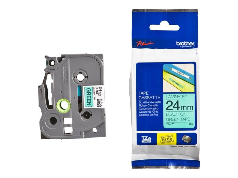 Brother Tape TZE-751 24mm Svart/Grön