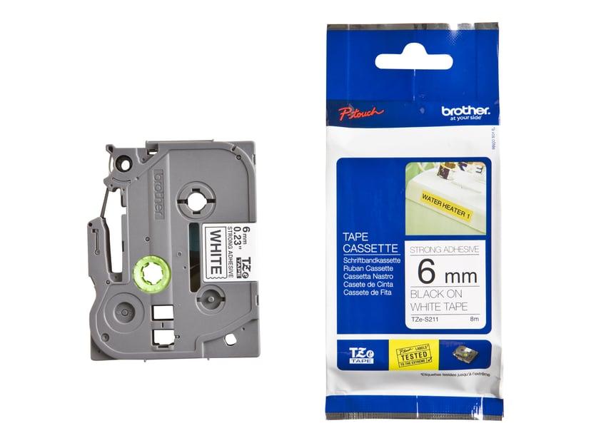Brother Tape TZE-S211 6mm Sort/Hvid Extra Stark