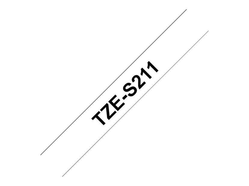 Brother Tape TZe-S211 6mm Svart/Vit Extra Stark