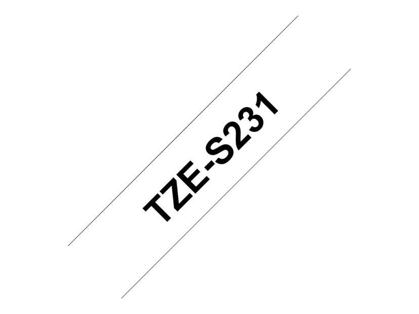 Brother Tape S231 12mm Sort/Hvid Ekstra stærk