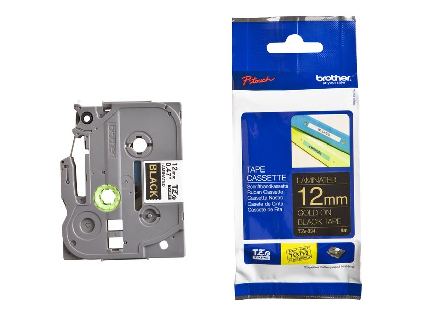 Brother Tape TZe-334 12mm Guld/Svart