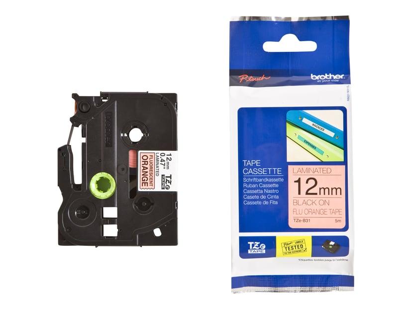 Brother Tape TZE-B31 12mm Sort/Neon Orange