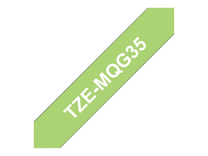 Brother Tape TZE-MQG35 12mm Hvid/Lime Grön