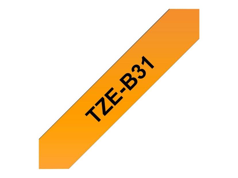 Brother Tape TZe-B31 12mm Svart/Neon Orange