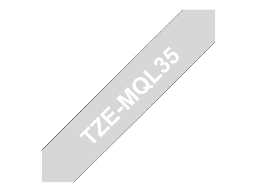 Brother Tape TZE-MQL 12mm Hvid/Light Grå