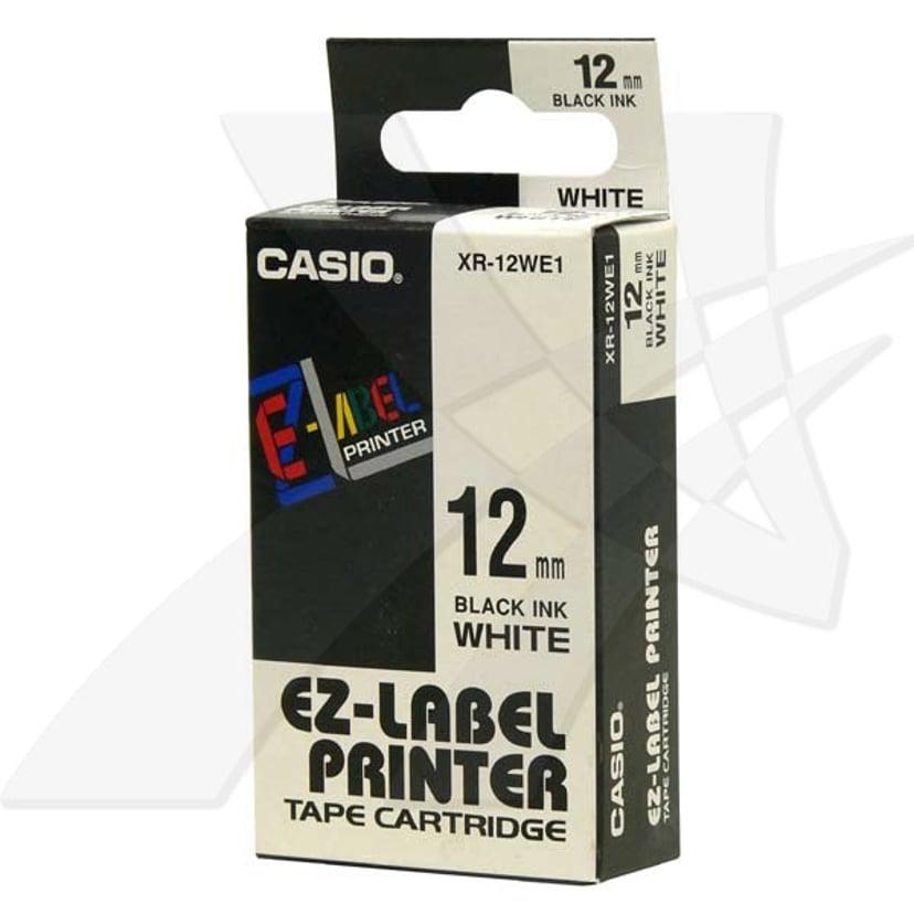 Casio Tape XR-12WES 12mm Svart/Hvit