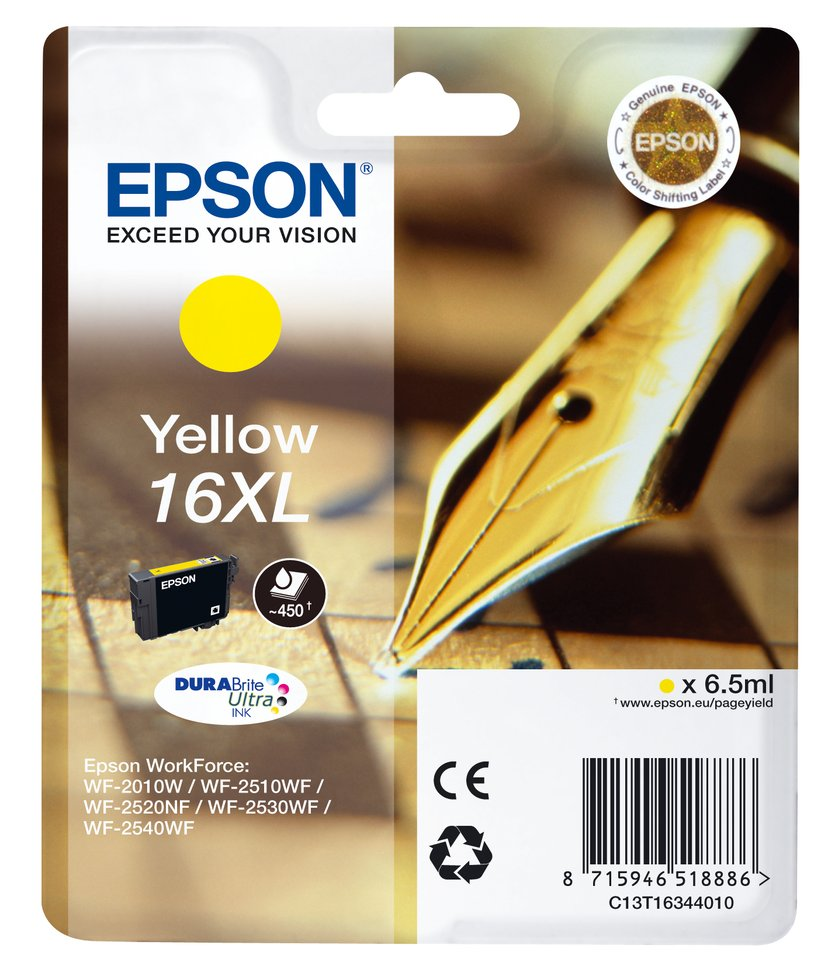 Epson Blekk Gul XL T1634 - WF-2530WF/WF-2660DWF