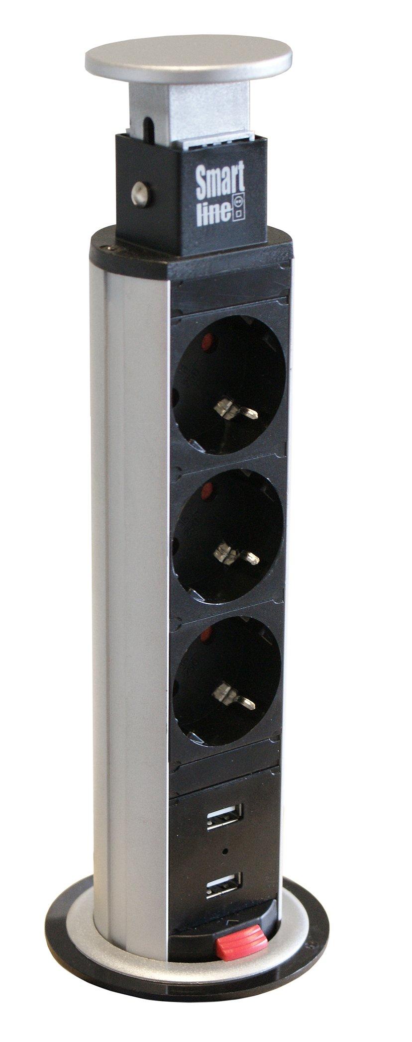 Kondator Smartline Popup Jack 3Xcee 7/4/2xUSB, 1,5m Kabel, Svart/Sølv