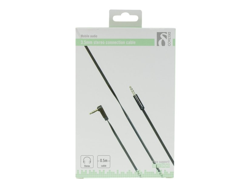 Deltaco AUDIO 3.5MM MALE - 3.5MM MALE ANGLED 0.5m 3,5 mm-ministereojakk Hann 3,5 mm-ministereojakk Hann